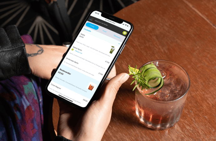 Cocktail menu with images on a drinks ordering app
