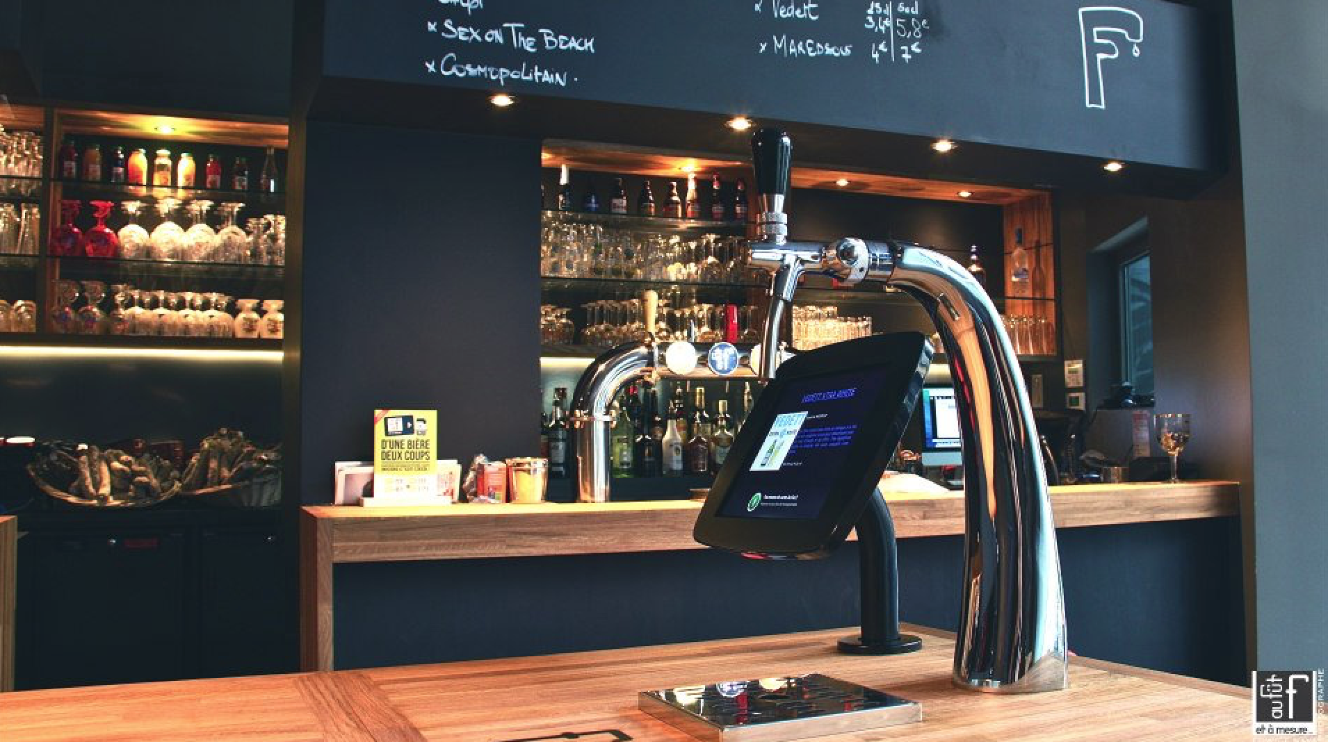 Self-service beer tap on a table